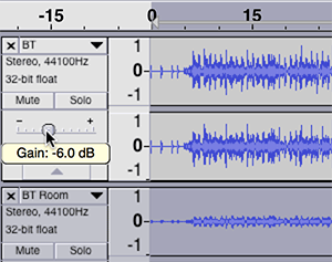 Reduce the gain of the original track in Audacity