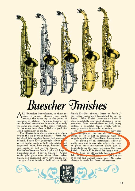Saxophone Material: Buescher Finishes from 1926 Catalogue