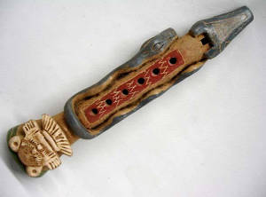 Aztec Flute with sound enhancing snake