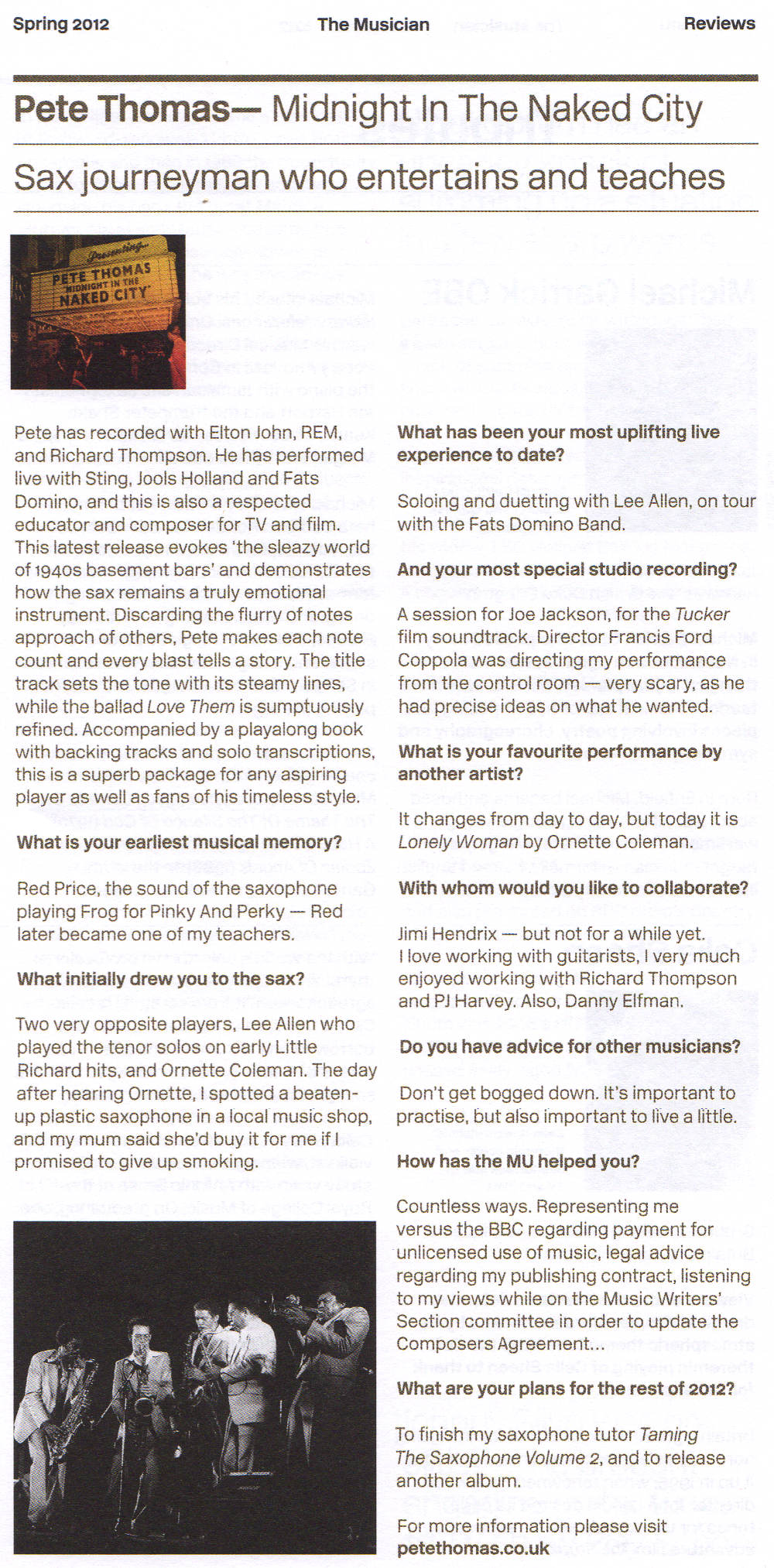 Musician magazine review